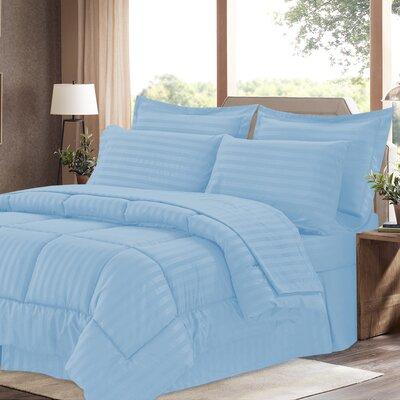 8 Piece Bed-In-A-Bag Set Color: Light Blue, Size: King