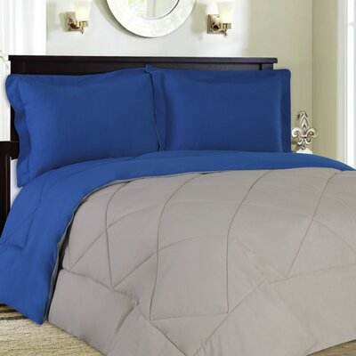 Bettencourt 3 Piece Reversible Comforter Set Size: King, Color: Blue / Stone