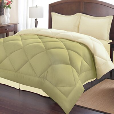 Sweet Home Collection Goose Alternative Down Comforter Set - Size: Full / Queen, Color: Sage / Cream