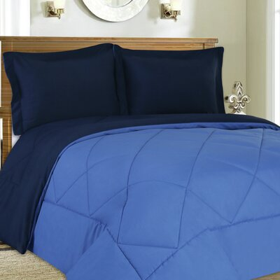 3 Piece Reversible Comforter Set Size: King, Color: Navy / Regatta