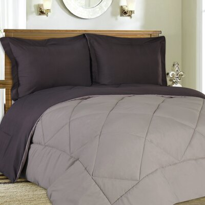 Bettencourt 3 Piece Reversible Comforter Set Size: Full / Queen, Color: Charcoal / Silver