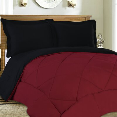Bettencourt 3 Piece Reversible Comforter Set Color: Burgundy / Black, Size: Full / Queen