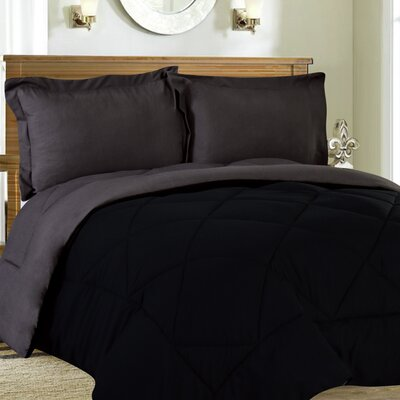 Bettencourt 3 Piece Reversible Comforter Set Size: Full / Queen, Color: Black / Gray