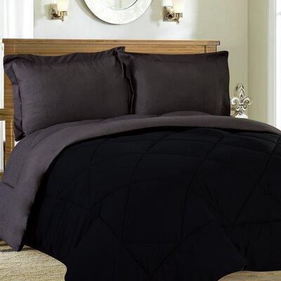 Bettencourt 3 Piece Reversible Comforter Set Size: King, Color: Black / Gray
