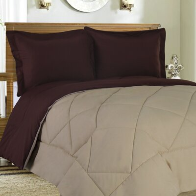 Bettencourt 3 Piece Reversible Comforter Set Size: Full / Queen, Color: Chocolate / Cream