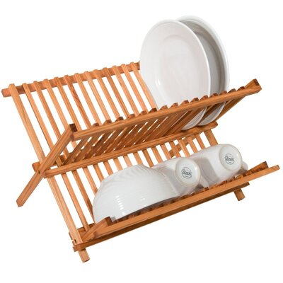 Two Level Folding Kitchen Counter Top Bamboo Dish Rack