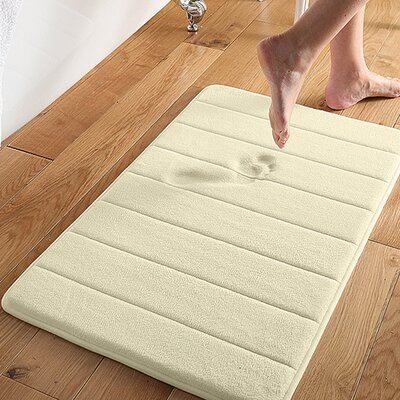 Microplush Memory Foam Bath Mat Color: Ivory