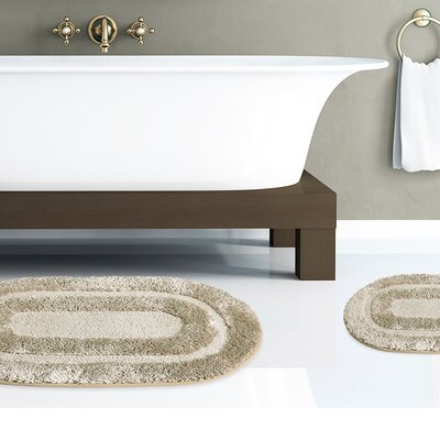 2 Piece Plush Polyester Microfiber Soft Bath Mat Set Color: Sage
