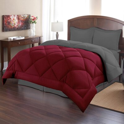 Bettencourt 3 Piece Reversible Comforter Set Size: Full / Queen, Color: Burgundy/Gray