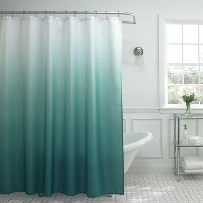 13 Piece Ombre Waffle Weave Shower Curtain Set Color: Teal