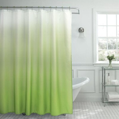 13 Piece Ombre Waffle Weave Shower Curtain Set Color: Lime