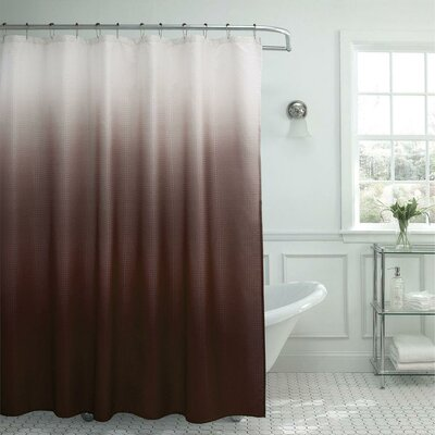 13 Piece Ombre Waffle Weave Shower Curtain Set Color: Chocolate