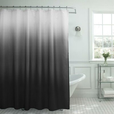 13 Piece Ombre Waffle Weave Shower Curtain Set Color: Gray