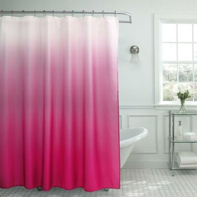 13 Piece Ombre Waffle Weave Shower Curtain Set Color: Fuschia