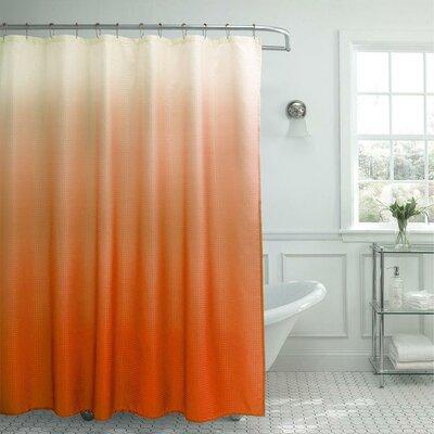 13 Piece Ombre Waffle Weave Shower Curtain Set Color: Orange