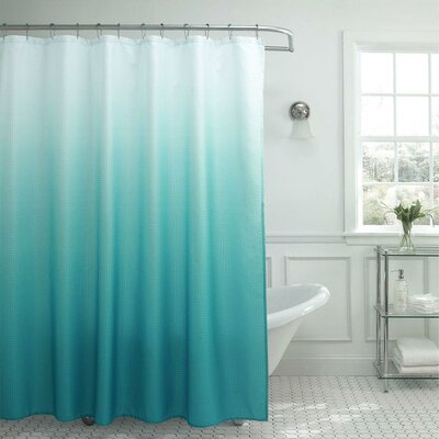 13 Piece Ombre Waffle Weave Shower Curtain Set Color: Tuquoise
