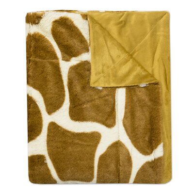 Giraffe Print Plush Faux Fur Throw Blanket