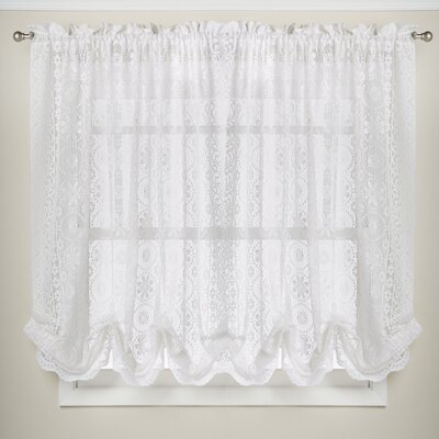 Hopewell Floral Heavy Lace Kitchen Curtain Shade Color: White