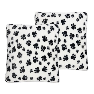 Dalmatian Paw Print Plush Faux Fur Throw Pillow