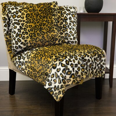 Leopard Print Plush Faux Fur Throw