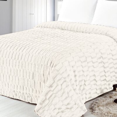 Box Pattern Soft Plush Faux Mink Fur Throw Blanket Size: King, Color: Ivory