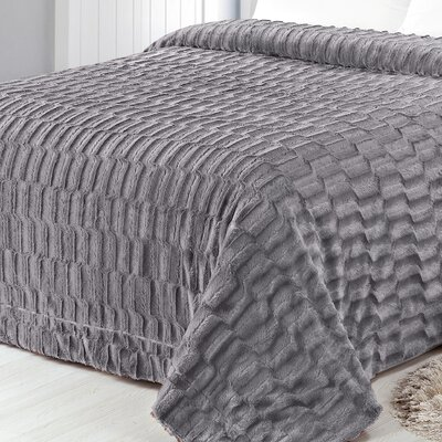 Box Pattern Soft Plush Faux Mink Fur Throw Blanket Size: Full/Queen, Color: Gray