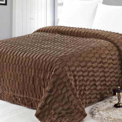Box Pattern Soft Plush Faux Mink Fur Throw Blanket Size: Full/Queen, Color: Brown