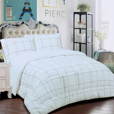 Loft 3 Piece Comforter Set Size: King, Color: White