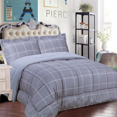 Loft 3 Piece Comforter Set Size: Full/Queen, Color: Gray