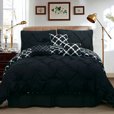 Taylor 7 Piece Queen Comforter Set Color: Black, Size: King
