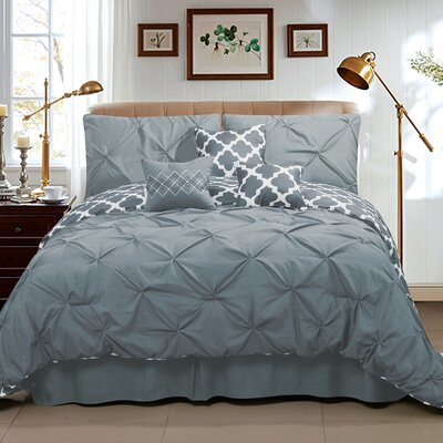 Taylor 7 Piece Queen Comforter Set Color: Gray, Size: Queen