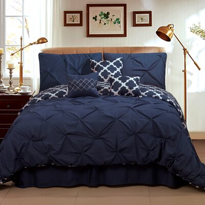 Taylor 7 Piece Queen Comforter Set Color: Navy, Size: Queen