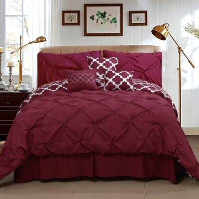 Taylor 7 Piece Queen Comforter Set Color: Burgundy, Size: King