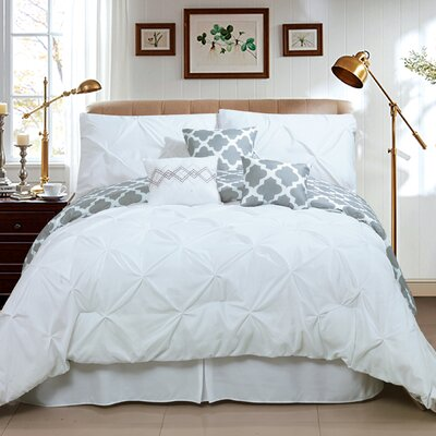Taylor 7 Piece Queen Comforter Set Color: White, Size: King