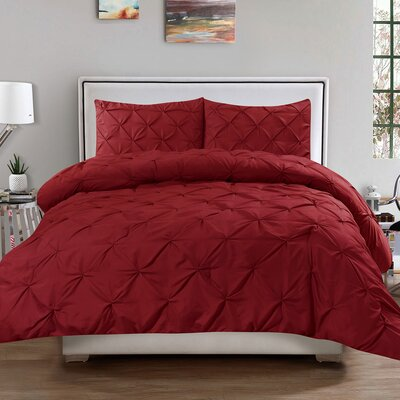 Luxury 3 Piece Duvet Cover Set Color: Burgundy, Size: Queen