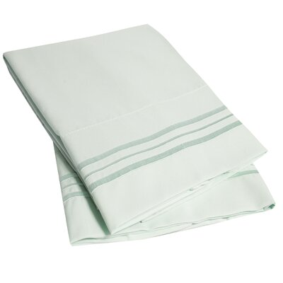 Bettsville Ultra-Soft Microfiber Embroidered Pillowcase Color: Mint, Size: Standard