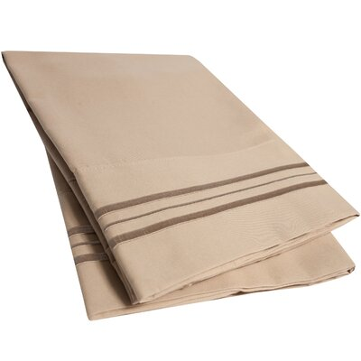 Ultra-Soft Microfiber Embroidered Pillowcase Color: Taupe, Size: Standard