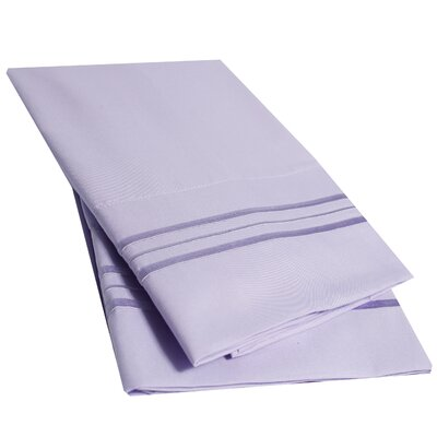 Ultra-Soft Microfiber Embroidered Pillowcase Color: Lavender, Size: Standard