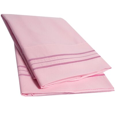 Bettsville Ultra-Soft Microfiber Embroidered Pillowcase Color: Pink, Size: King