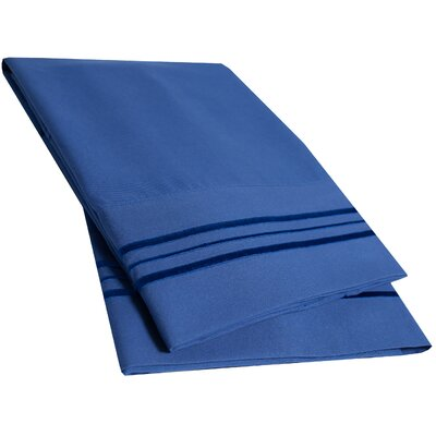 Bettsville Ultra-Soft Microfiber Embroidered Pillowcase Color: Royal Blue, Size: Standard