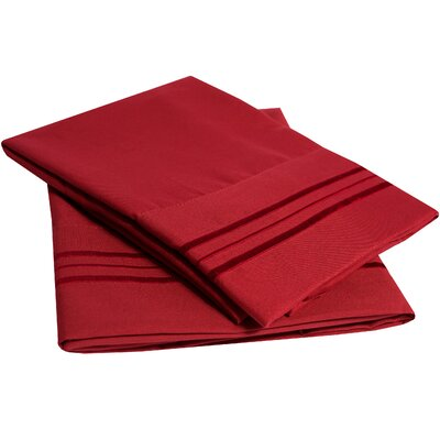 Bettsville Ultra-Soft Microfiber Embroidered Pillowcase Color: Red, Size: Standard
