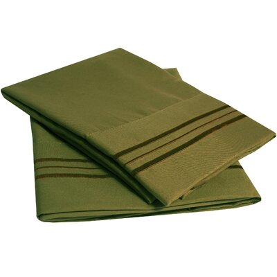 Bettsville Ultra-Soft Microfiber Embroidered Pillowcase Color: Olive, Size: King