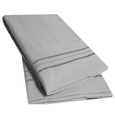 Bettsville Ultra-Soft Microfiber Embroidered Pillowcase Color: Silver, Size: King
