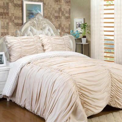 Isabella 3 Piece Reversible Comforter Set Color: Cream, Size: King