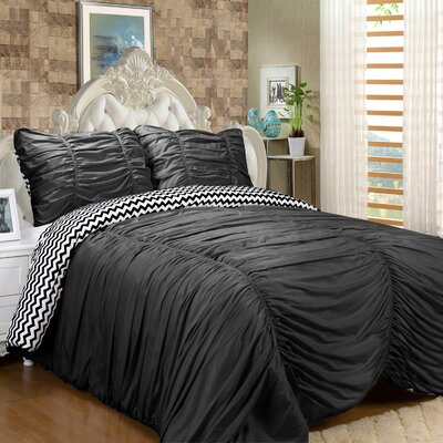 Isabella 3 Piece Reversible Comforter Set Color: Black, Size: Queen
