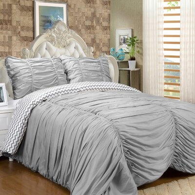 Isabella 3 Piece Reversible Comforter Set Color: Gray, Size: Queen