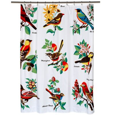 Fabric Shower Curtain with Bird Pattern (70x72)