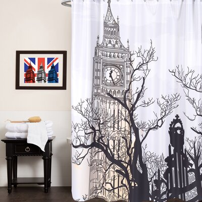 Fabric Shower Curtain with Big Ben Print (70x72)