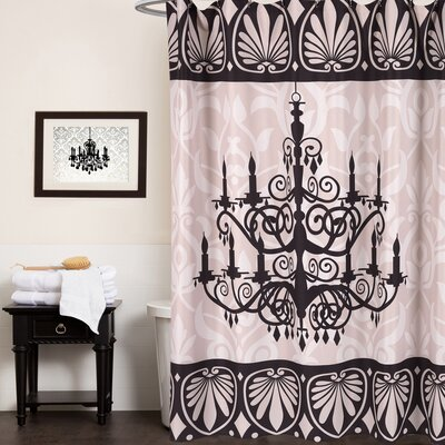 Fabric Shower Curtain with Chandelier Print (70x72)