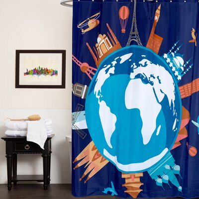 Fabric Shower Curtain with Fun World Graphic Print (70x72)